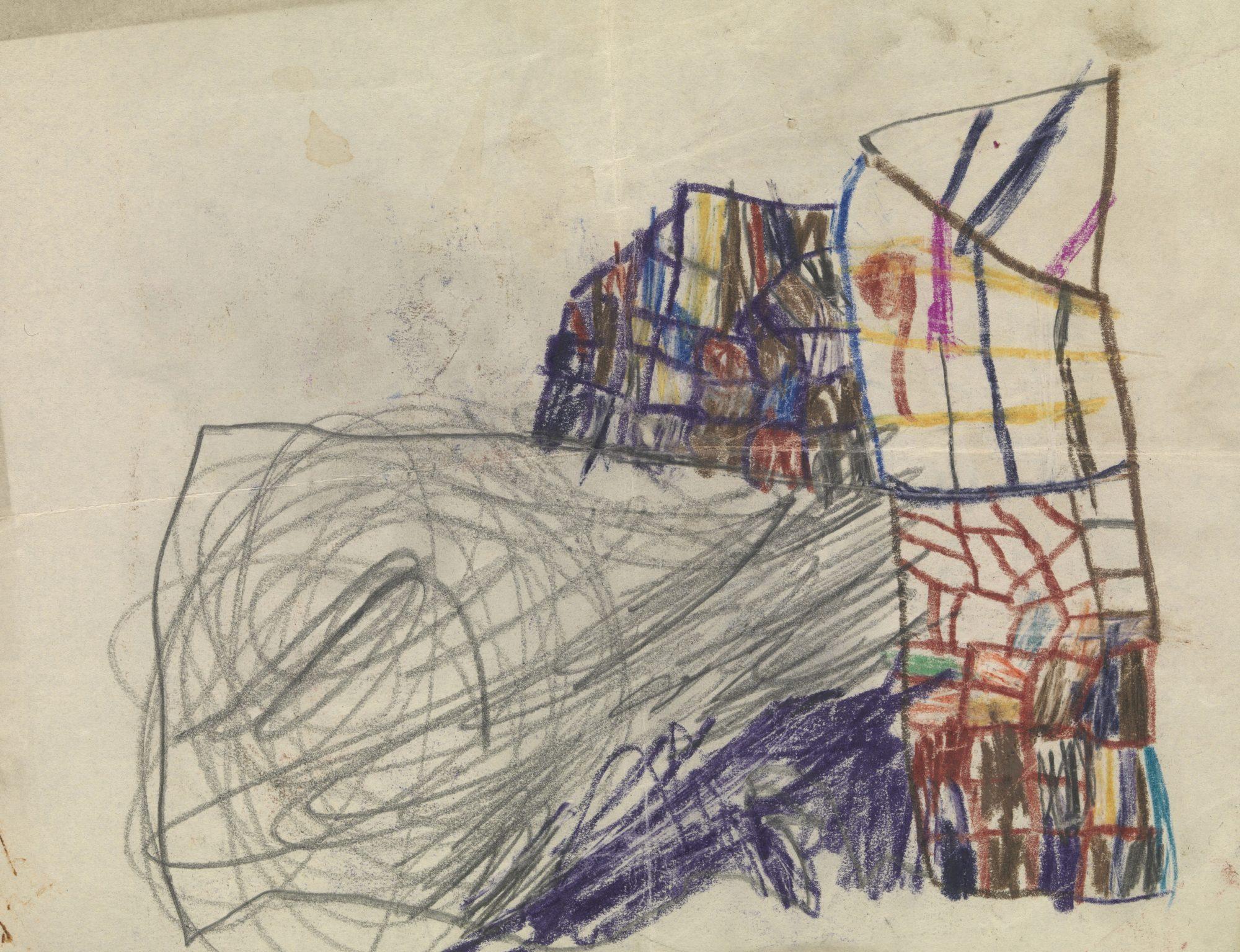 Dessin en couleur réalisé par un des patients enfants de Melanie Klein