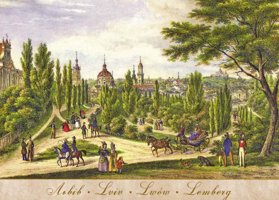 Colour illustration of the town of Lemberg