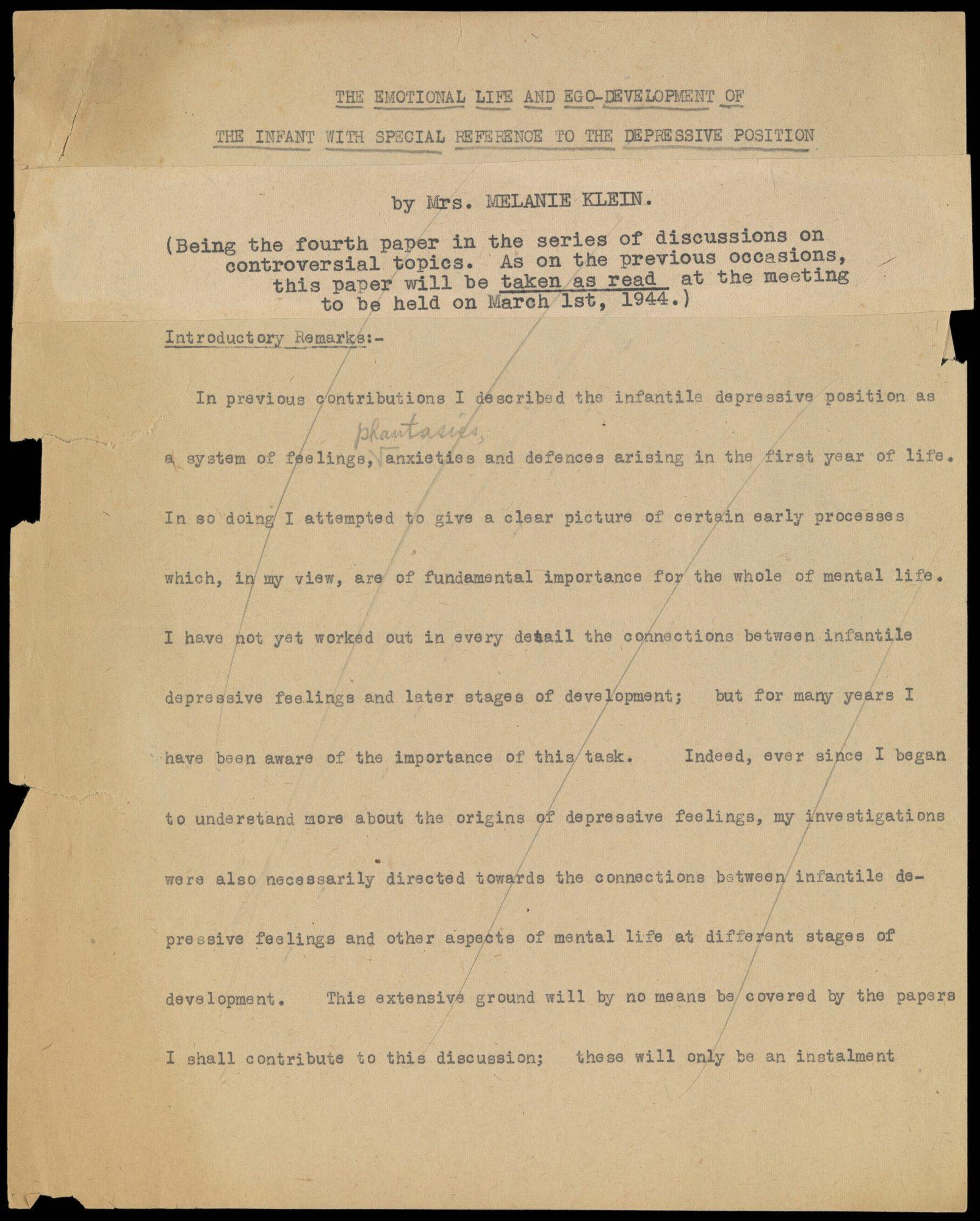 Primera página del borrador del artículo de Klein 'The Emotional Life and Ego Development of the Infant', que fue el tema central de la cuarta de las Grandes Controversias en marzo de 1944