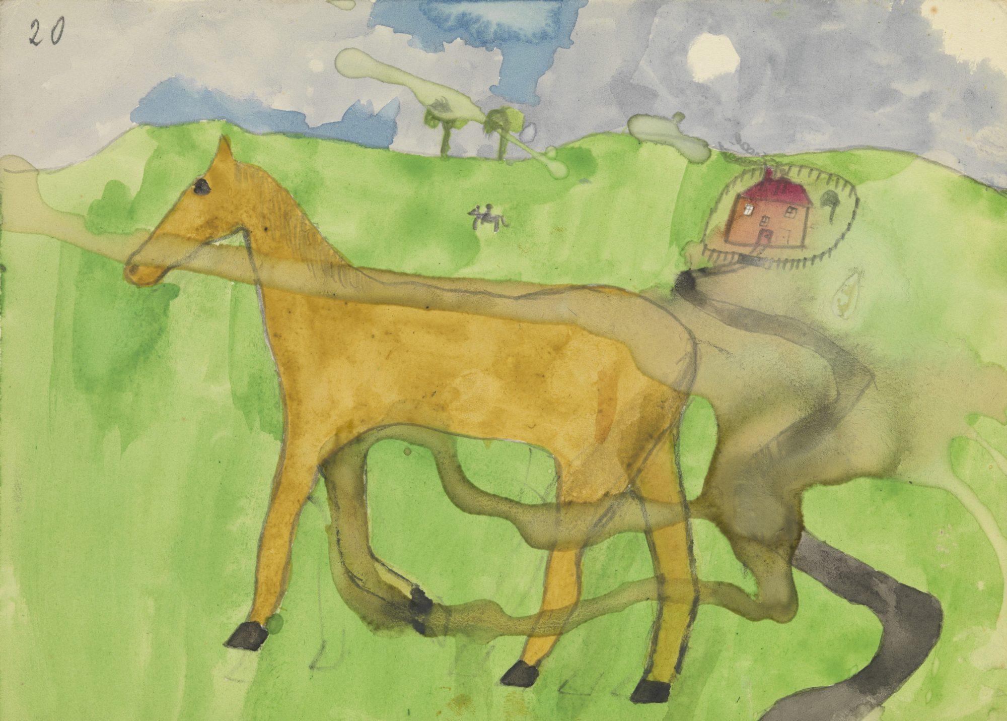 Pintura de caballo con paisaje hecha por uno de los niños pacientes de Klein