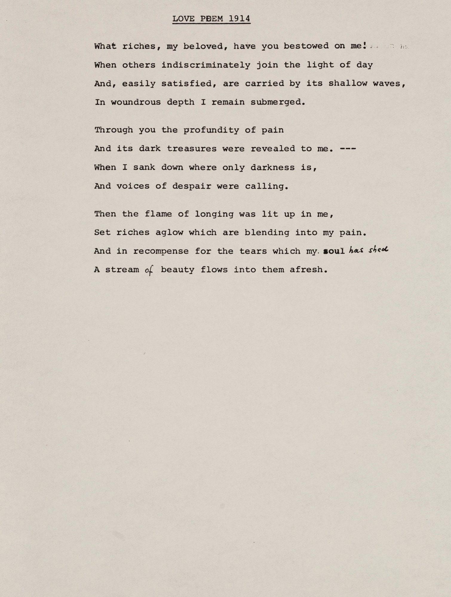 Перевод стихотворения, написанного Кляйн в 1914 году