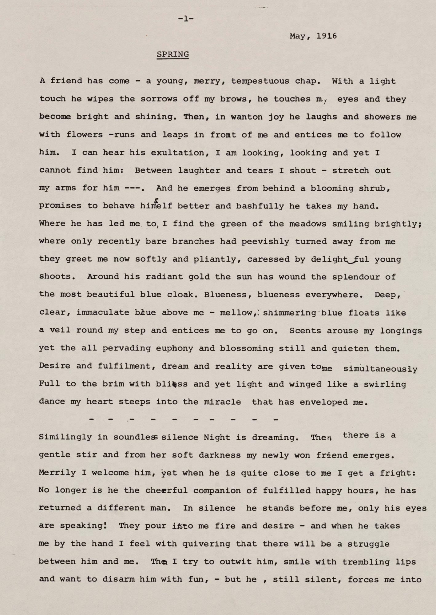 Первая страница рассказа «Весна» ('Frühling'), написанного Кляйн в 1916 году
