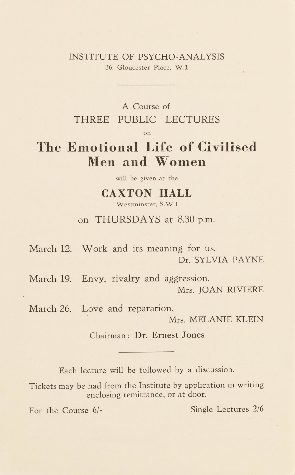 Advertisement for a series of lectures at Caxton Hall given by Klein, Joan Riviere and Sylvia Payne