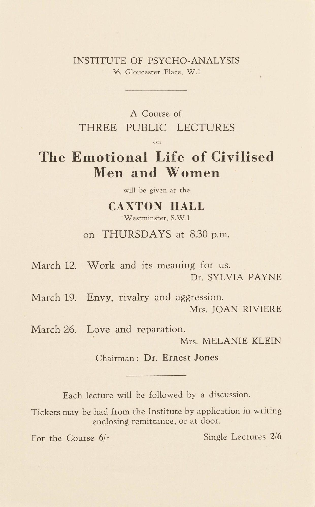Affiche annonçant une série de conférences au Caxton Hall avec des communications de Klein, Joan Riviere et Sylvia Payne