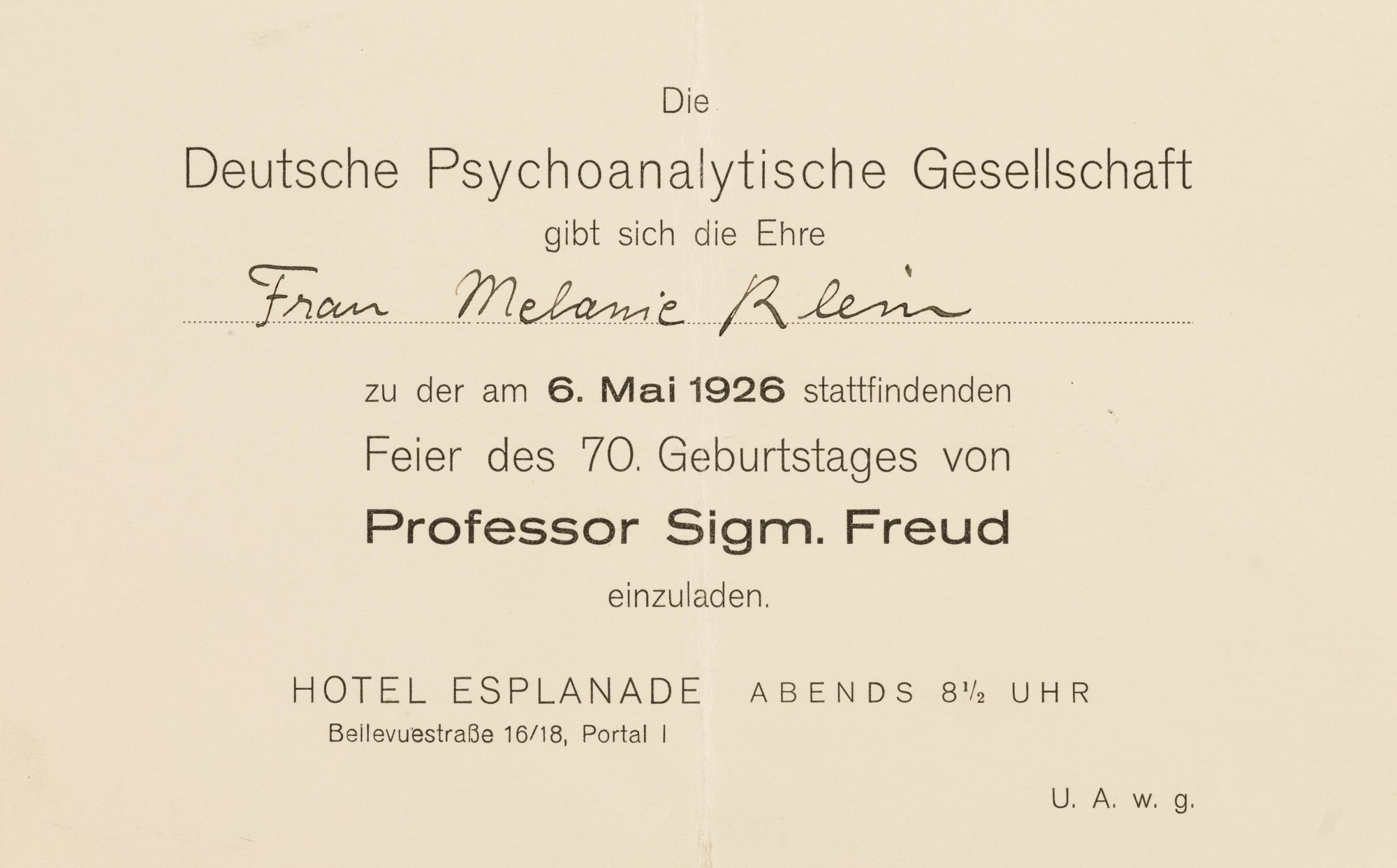 Klein's invitation to Sigmund Freud's 70th birthday party in Berlin