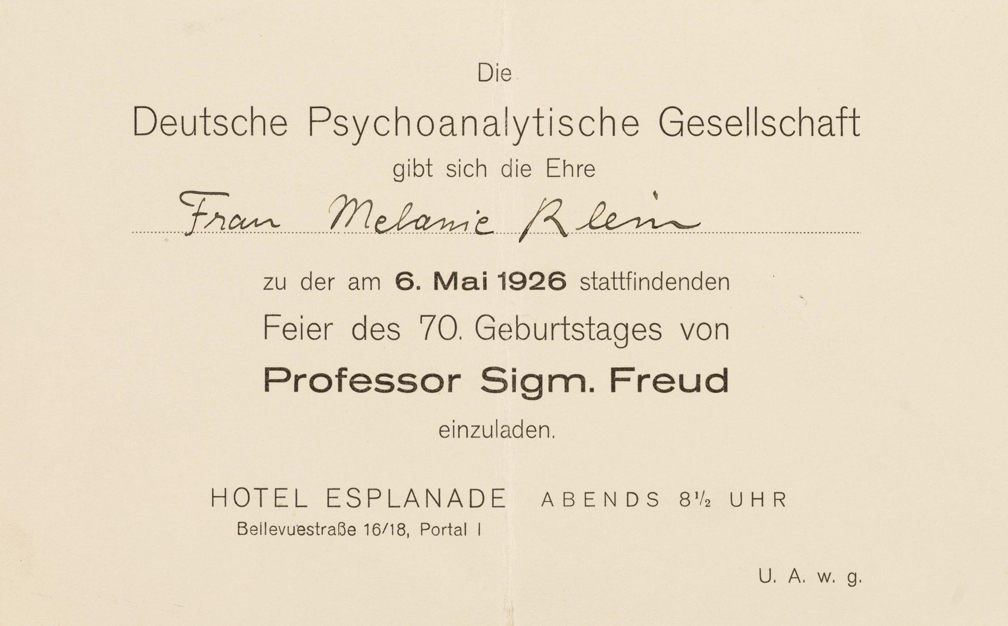 Invitation à la fête d'anniversaire des 70 ans de Freud, le 6 mai 1926 à l'Hôtel Esplanade à Berlin