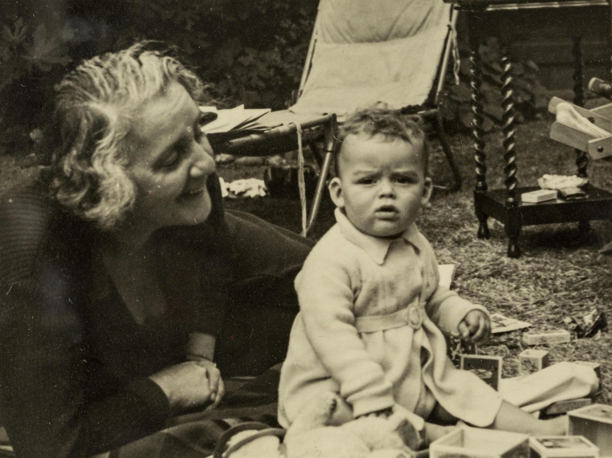 Photograph of Melanie Klein with her grandson Michael in 1938.