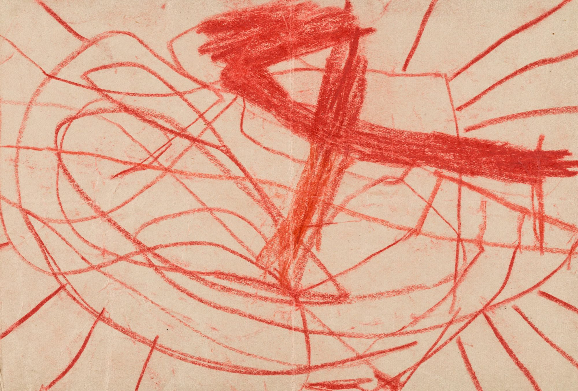 Red crayon drawing by one of Klein's child patients