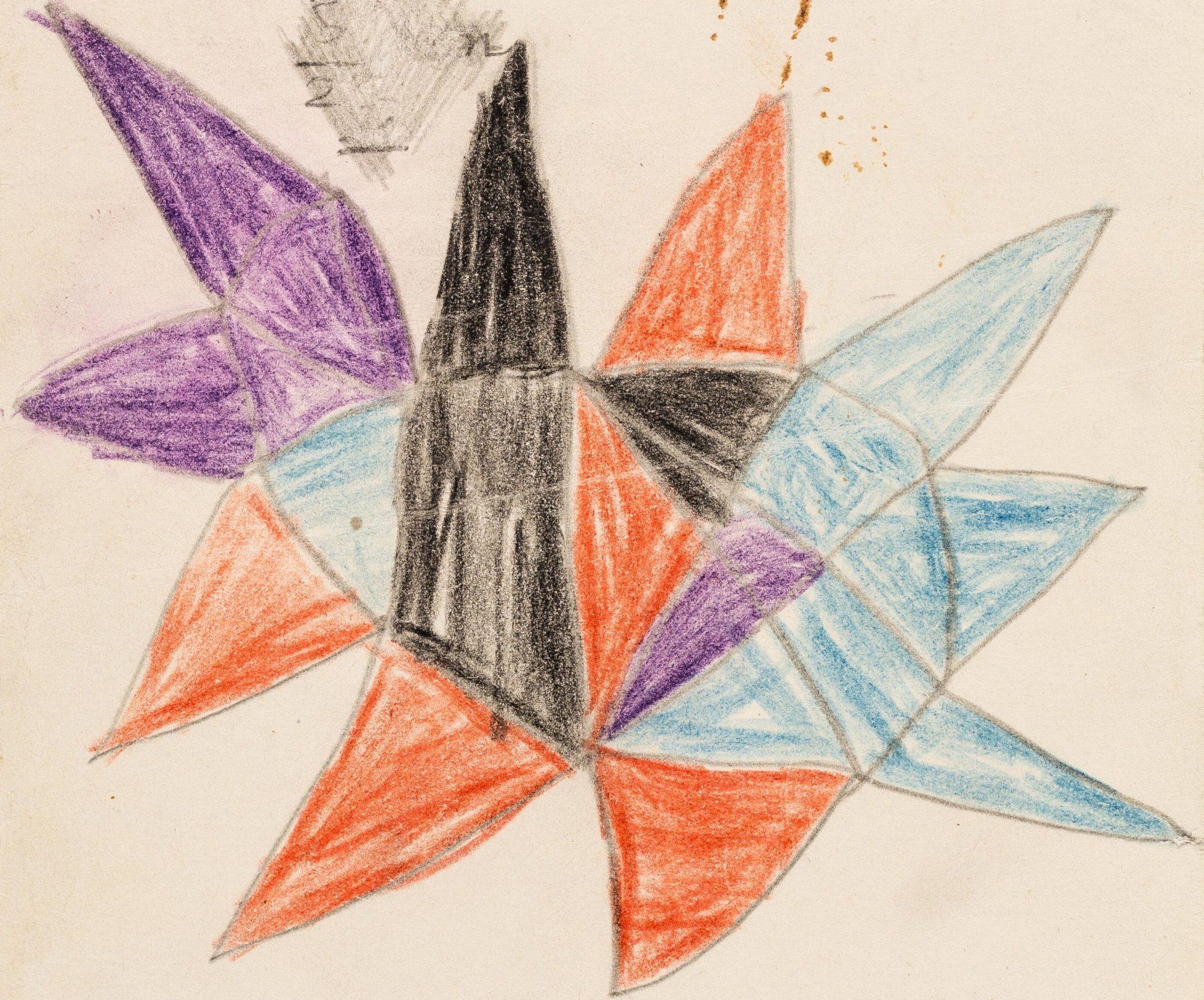 Child's drawing of colourful spiky shapes,by 10-year-old Richard, one of Klein's patients