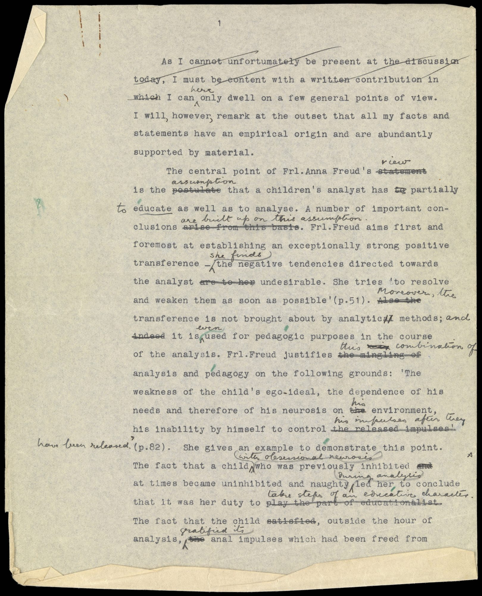 Copy of a typed and hand-annotated manuscript page - the first page of a draft critique of Anna Freud's approach to child analysis by Klein (c.1927)