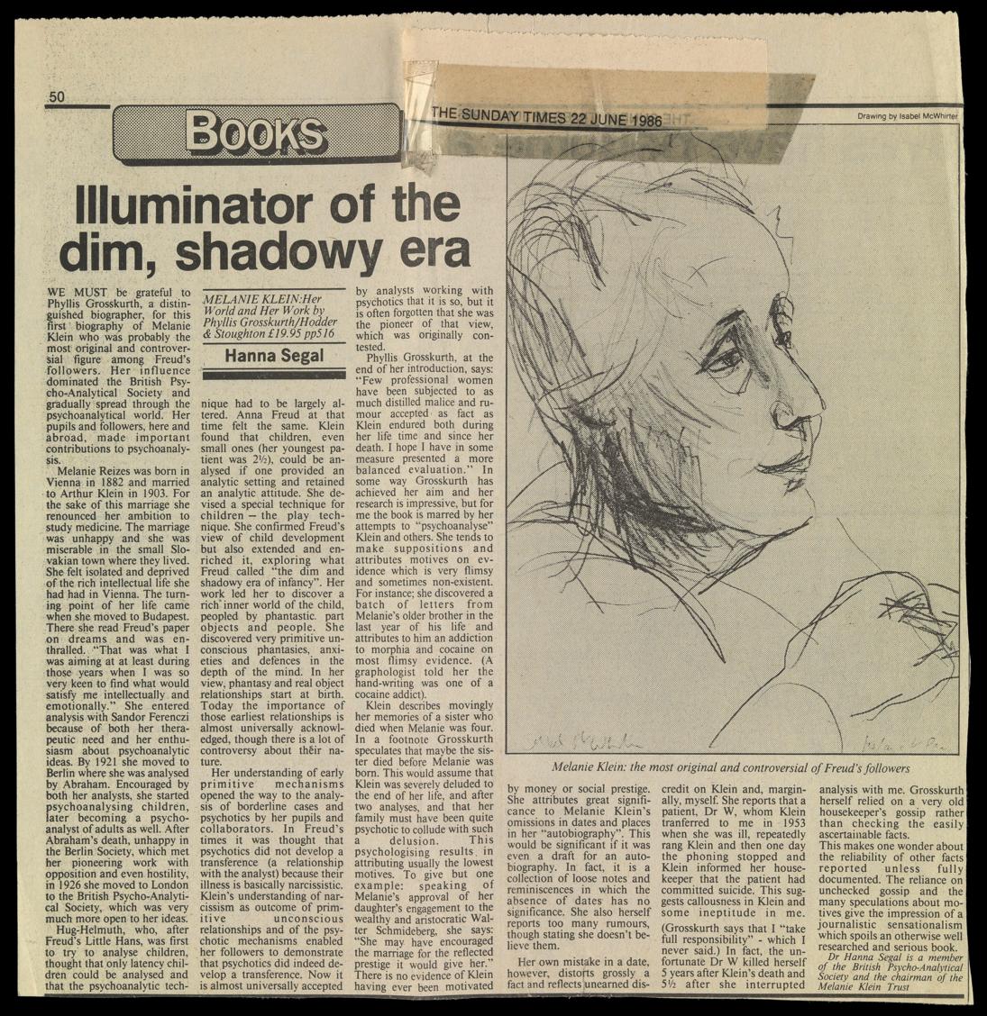 Compte-rendu d'Hanna Segal de la biographie de Melanie Klein par Phyllis Grosskurth publié dans le Sunday Times du 22 juin 1986