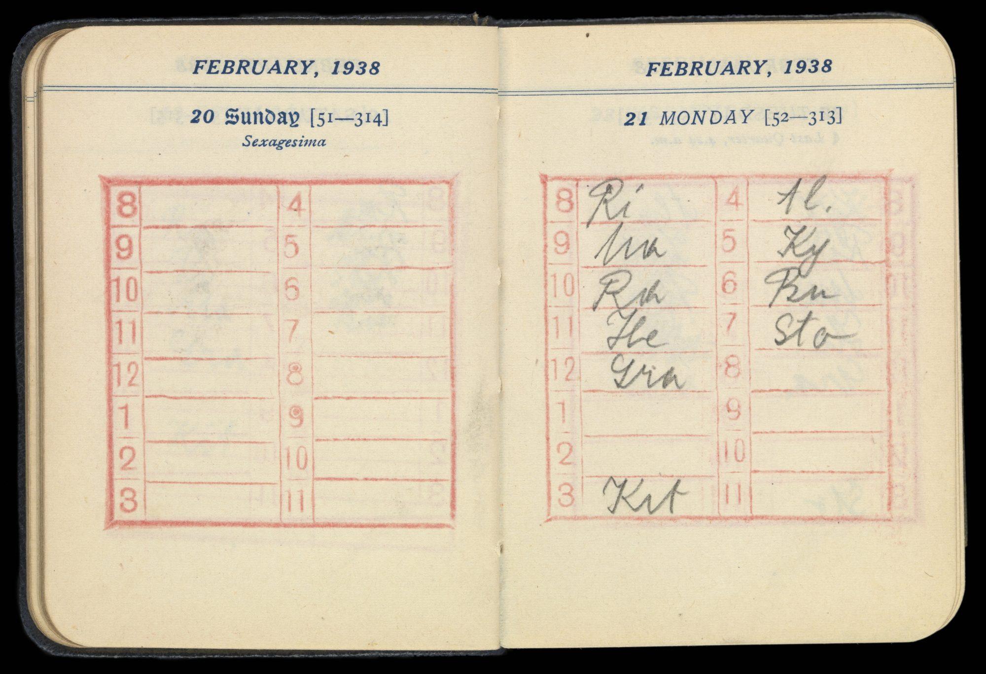 Agenda de Melanie Klein, ouvert aux pages des 20 et 21 février 1938, avec dix séances d'analyse notées à la date du 21