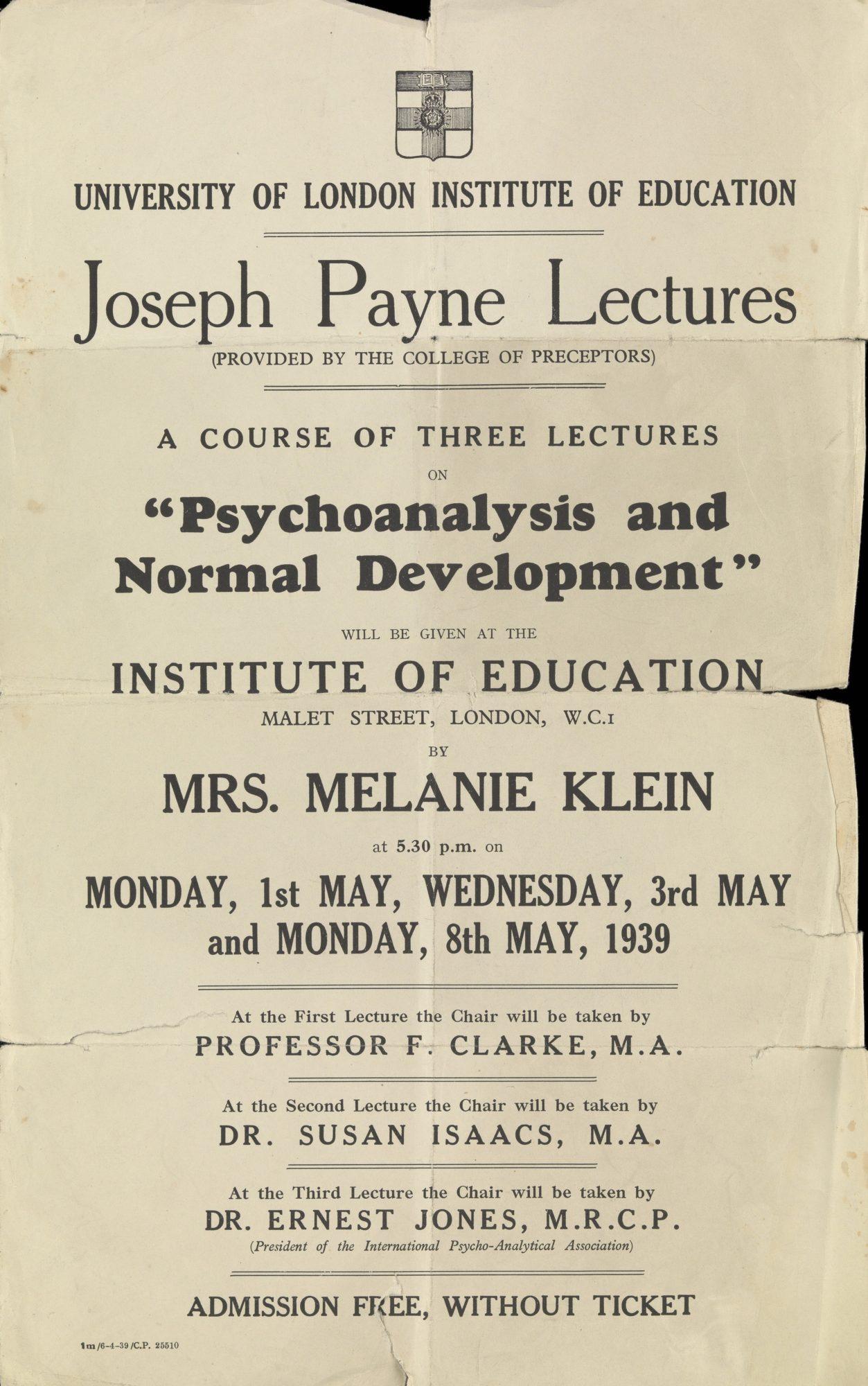 Annonce de la conférence de Melanie Klein de 1939 « La psychanalyse et le développement normal » à l'Institut d'Education de Londres