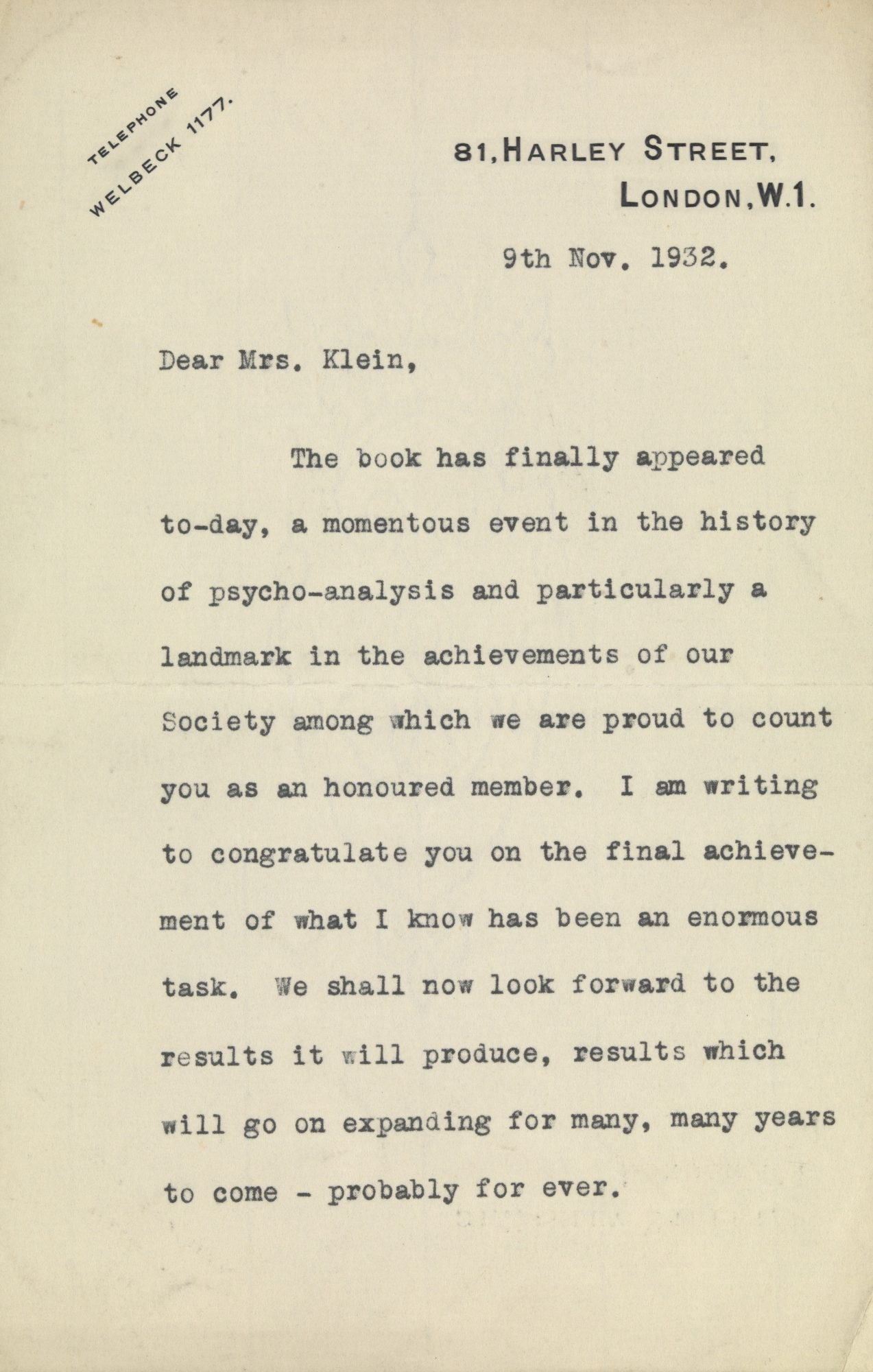 Letter from Ernest Jones to Klein (1932) on the publication of The Psychoanalysis of Children