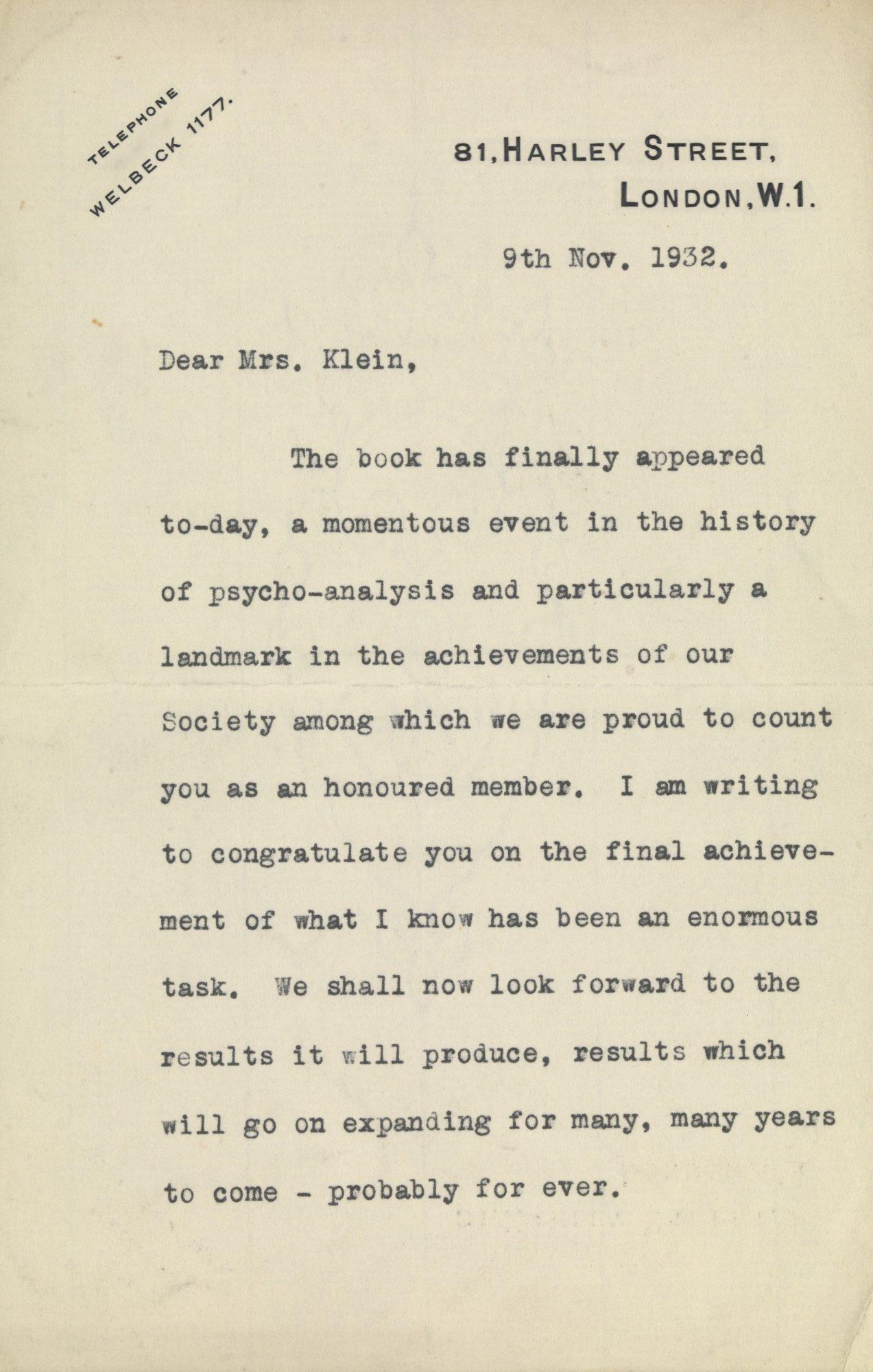 Une lettre de Klein à Ernest Jones, en date du 9 novembre 1932