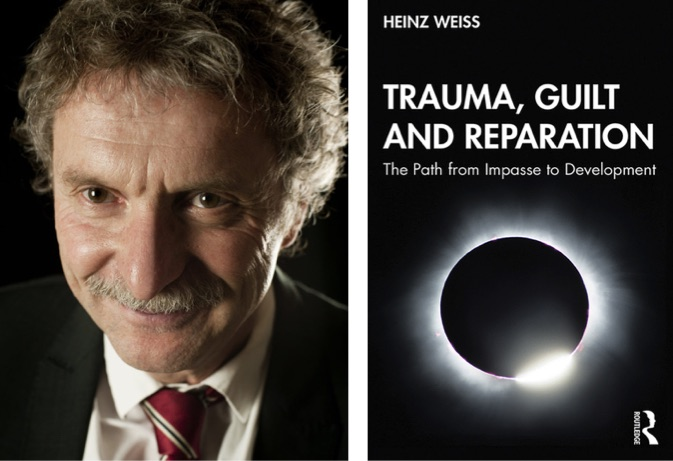 Photo of Heinz Weiss next to book cover of Trauma, Guilt and Reparation